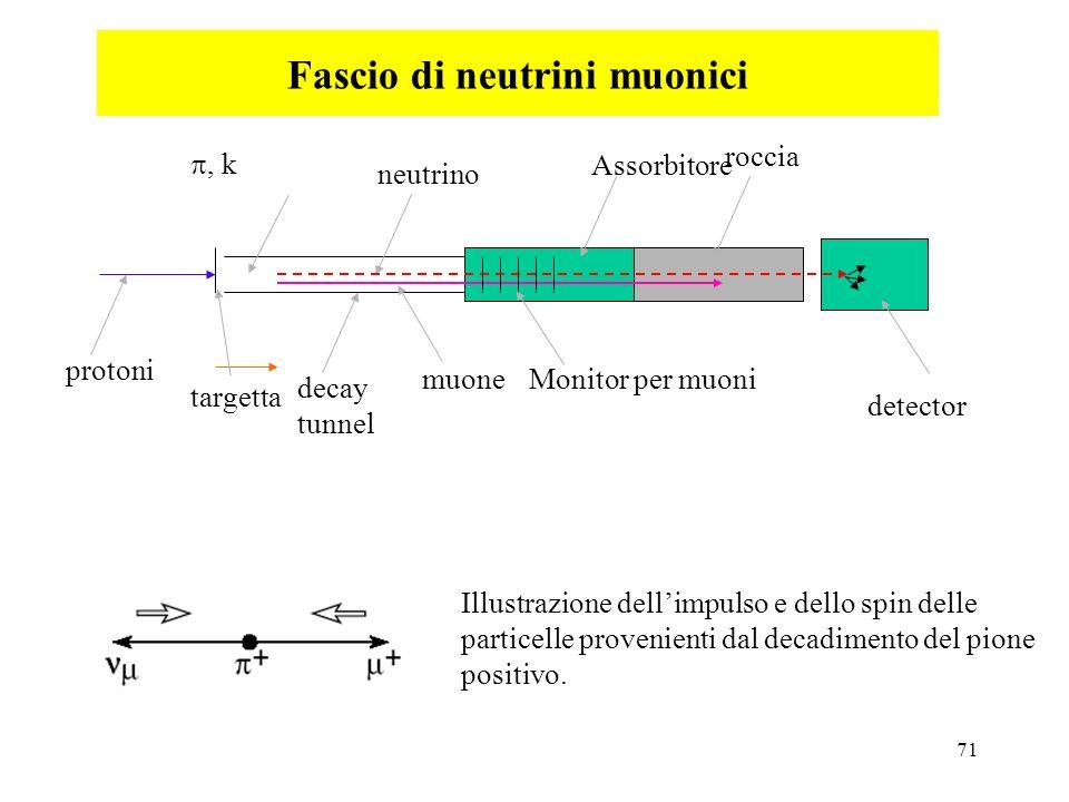 71 Fascio di neutrini muonici protoni targetta, k neutrino decay tunnel muoneMonitor per muoni Assorbitore roccia detector Illustrazione dellimpulso e