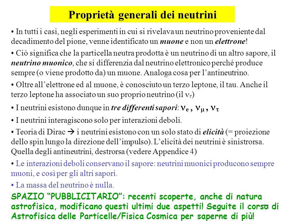 72 Proprietà generali dei neutrini In tutti i casi, negli esperimenti in cui si rivelava un neutrino proveniente dal decadimento del pione, venne iden