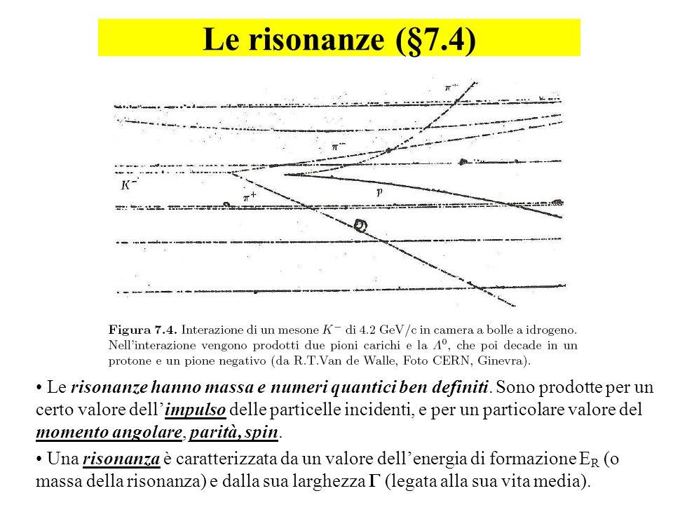 Le risonanze (§7.4) Le risonanze hanno massa e numeri quantici ben definiti. Sono prodotte per un certo valore dellimpulso delle particelle incidenti,