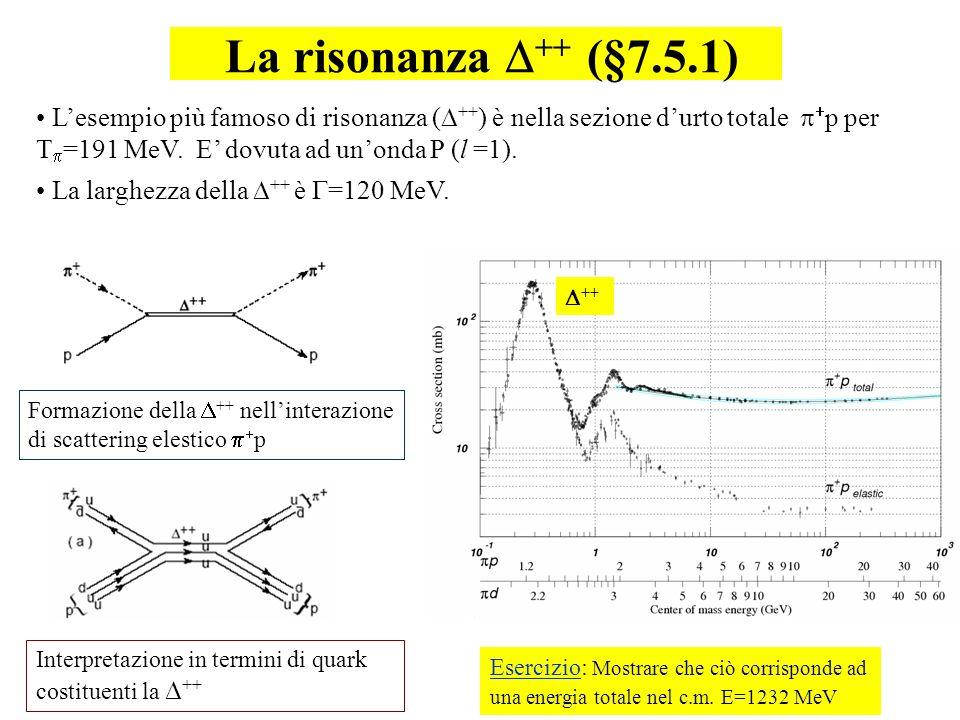 93 Lesempio più famoso di risonanza ( ++ ) è nella sezione durto totale p per T =191 MeV. E dovuta ad unonda P (l =1). La larghezza della ++ è =120 Me