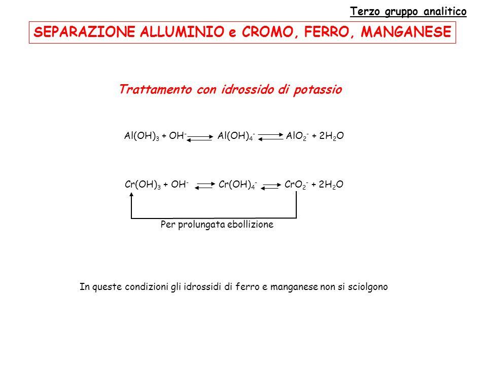 SEPARAZIONE ALLUMINIO e CROMO, FERRO, MANGANESE Terzo gruppo analitico Trattamento con idrossido di potassio In queste condizioni gli idrossidi di ferro e manganese non si sciolgono Al(OH) 3 + OH - Al(OH) 4 - AlO 2 - + 2H 2 O Cr(OH) 3 + OH - Cr(OH) 4 - CrO 2 - + 2H 2 O Per prolungata ebollizione
