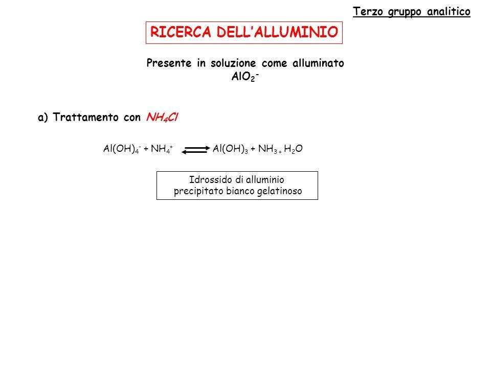 RICERCA DEL CROMO Terzo gruppo analitico Ossidazione in ambiente alcalino a CrO 4 = (PbO 2 ) 2Cr(OH) 3 + 2OH - 2Cr(OH) 4 - 2Cr(OH) 4 - + 3PbO 2 + 8OH - 2CrO 4 2- + 3PbO 2 2- + 8H 2 O 2Cr(OH) 3 + 3PbO 2 + 10OH - 2CrO 4 2- + 3PbO 2 2- + 8H 2 O Cromato giallo Acidificando fino a pH 5 il PbO 2- si trasforma, passando attraverso Pb(OH) 2, fino a Pb 2+ Cromato di piombo precipitato giallo CrO 4 2- + Pb 2+ PbCrO 4 (s) Cr(OH) 3 + 6NH 3 [Cr(NH 3 ) 6 ] 3+ + 3OH - violaceo Per prolungata ebollizione (2CrO 4 2- + 3H 2 S + 10H + 2Cr 3+ + 3S + 8H 2 O) [( Pb(OH) 4 2- ) PbO 2 2- + 2H 2 O Pb(OH) 2 Pb 2+ + 2OH - ]
