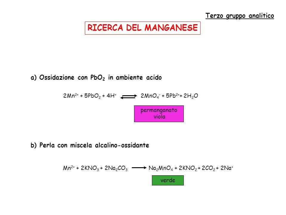 RICERCA DEL MANGANESE Terzo gruppo analitico a) Ossidazione con PbO 2 in ambiente acido permanganato viola 2Mn 2+ + 5PbO 2 + 4H + 2MnO 4 - + 5Pb 2+ + 2H 2 O b) Perla con miscela alcalino-ossidante Mn 2+ + 2KNO 3 + 2Na 2 CO 3 Na 2 MnO 4 + 2KNO 2 + 2CO 2 + 2Na + verde