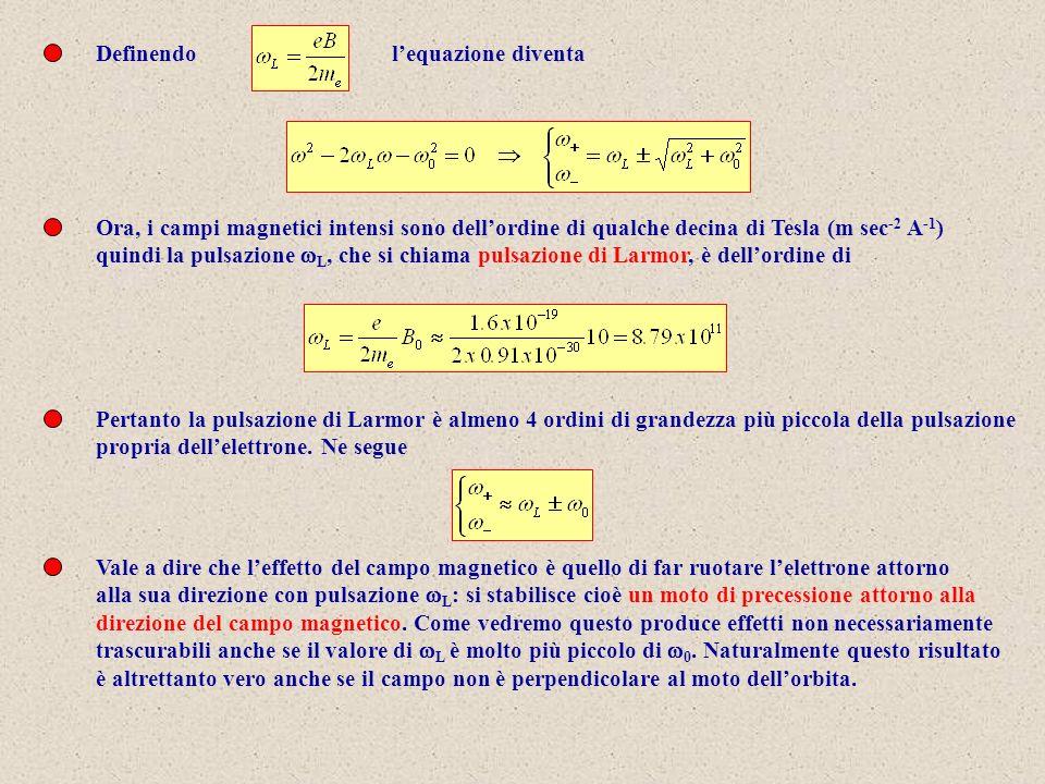 Definendolequazione diventa Ora, i campi magnetici intensi sono dellordine di qualche decina di Tesla (m sec -2 A -1 ) quindi la pulsazione L, che si chiama pulsazione di Larmor, è dellordine di Pertanto la pulsazione di Larmor è almeno 4 ordini di grandezza più piccola della pulsazione propria dellelettrone.
