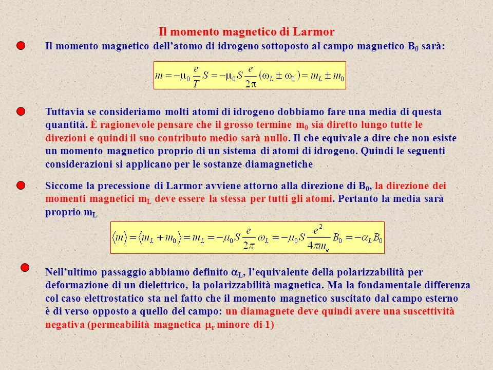 Il momento magnetico dellatomo di idrogeno sottoposto al campo magnetico B 0 sarà: Tuttavia se consideriamo molti atomi di idrogeno dobbiamo fare una media di questa quantità.