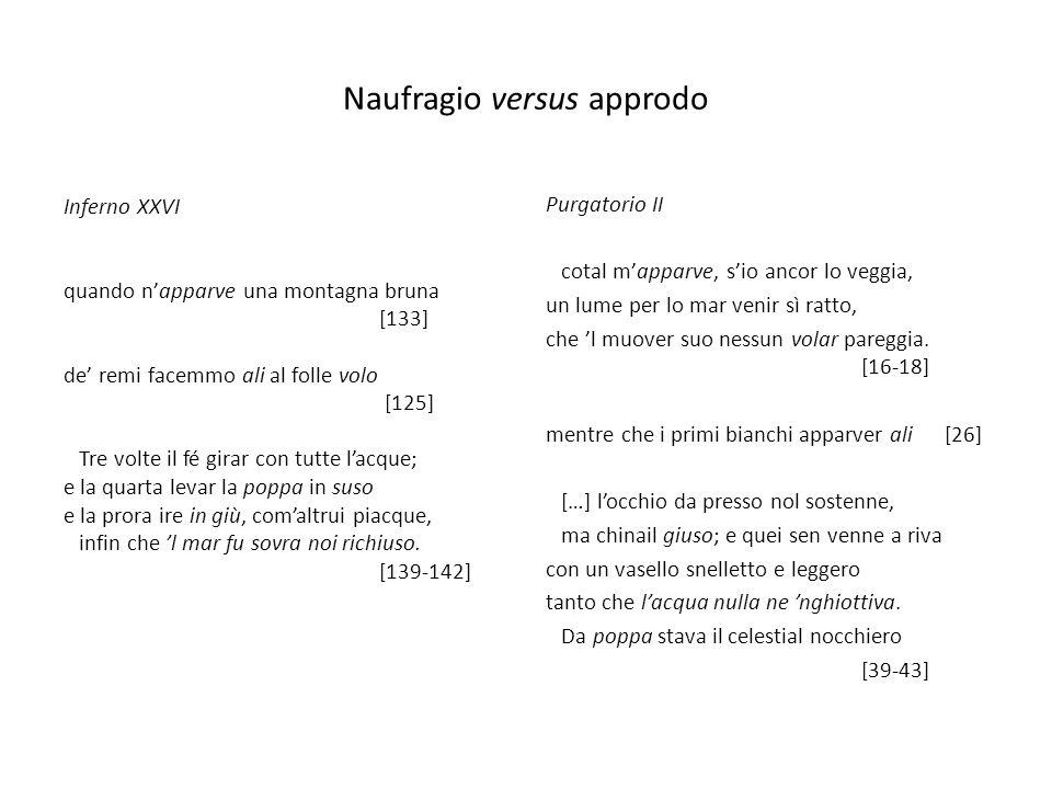 Naufragio versus approdo Purgatorio II cotal mapparve, sio ancor lo veggia, un lume per lo mar venir sì ratto, che l muover suo nessun volar pareggia.