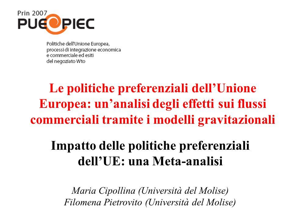 Impatto delle politiche preferenziali dellUE: una Meta-analisi Maria Cipollina (Università del Molise) Filomena Pietrovito (Università del Molise) Le
