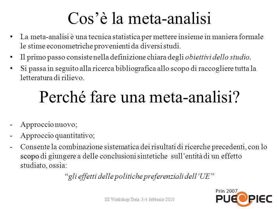 Cosè la meta-analisi La meta-analisi è una tecnica statistica per mettere insieme in maniera formale le stime econometriche provenienti da diversi stu
