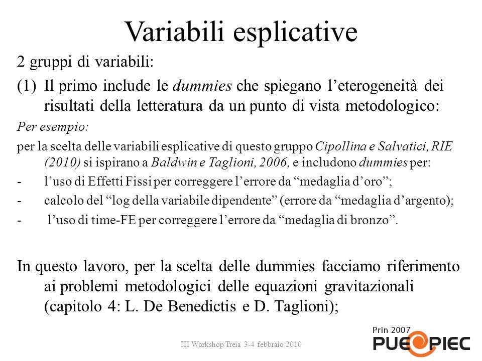 Variabili esplicative 2 gruppi di variabili: (1)Il primo include le dummies che spiegano leterogeneità dei risultati della letteratura da un punto di