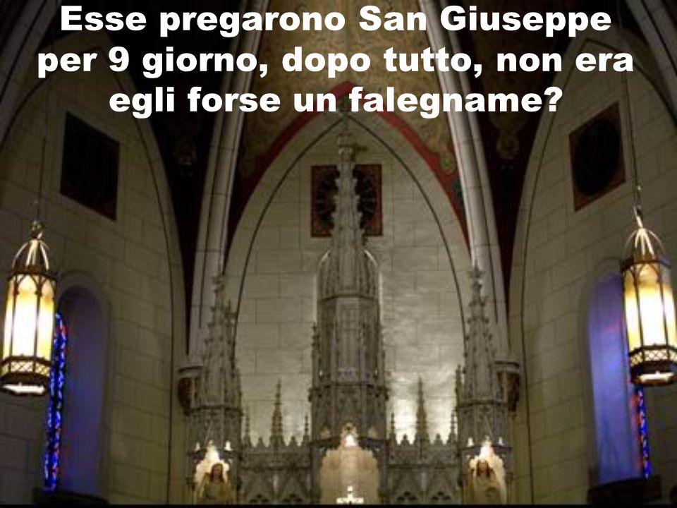 Esse pregarono San Giuseppe per 9 giorno, dopo tutto, non era egli forse un falegname?