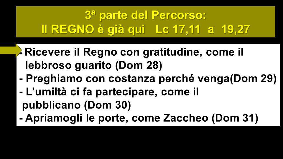 3ª parte del Percorso: Il REGNO è già qui Lc 17,11 a 19,27 - - Ricevere il Regno con gratitudine, come il lebbroso guarito (Dom 28) - Preghiamo con costanza perché venga(Dom 29) - Lumiltà ci fa partecipare, come il pubblicano (Dom 30) - Apriamogli le porte, come Zaccheo (Dom 31)