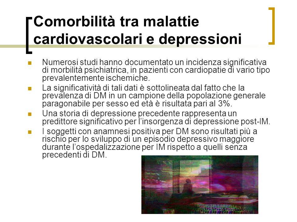 Comorbilità tra malattie cardiovascolari e depressioni Numerosi studi hanno documentato un incidenza significativa di morbilità psichiatrica, in pazienti con cardiopatie di vario tipo prevalentemente ischemiche.
