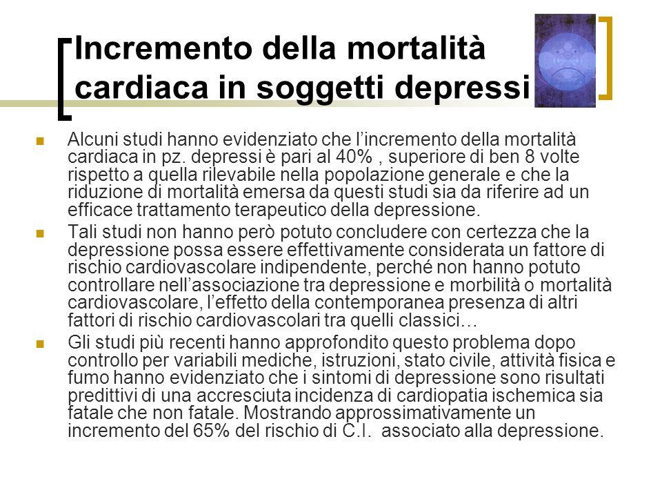 Incremento della mortalità cardiaca in soggetti depressi Alcuni studi hanno evidenziato che lincremento della mortalità cardiaca in pz.