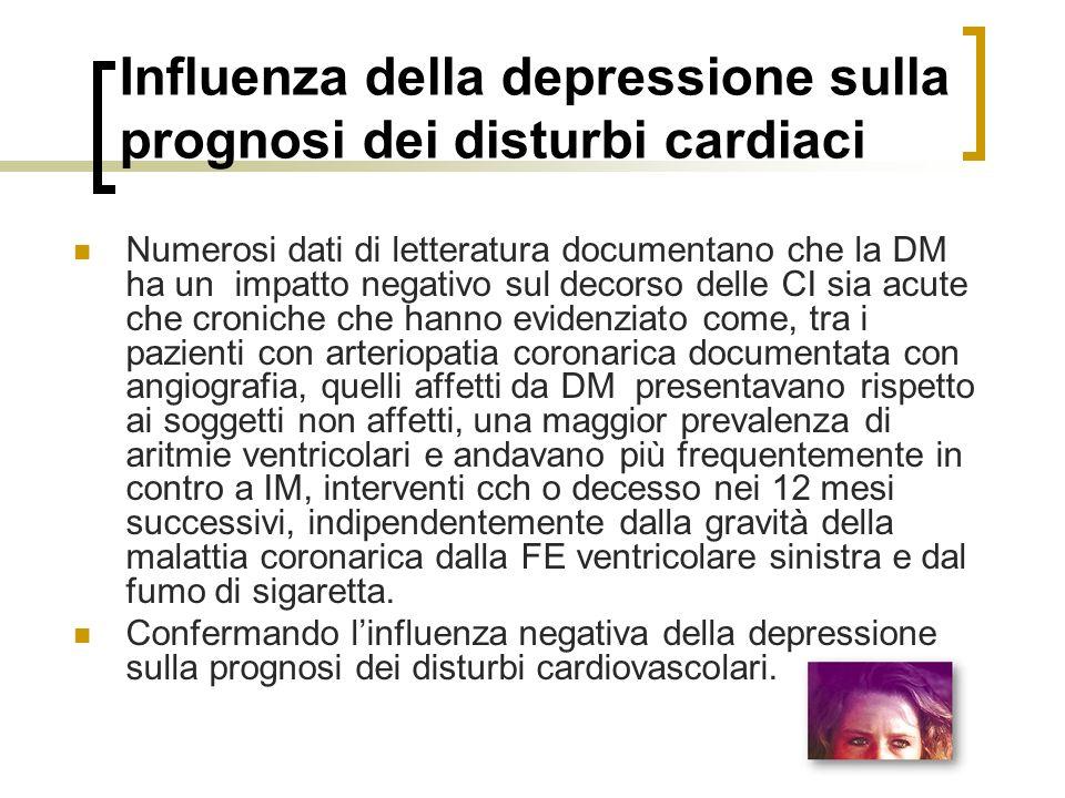 Influenza della depressione sulla prognosi dei disturbi cardiaci Numerosi dati di letteratura documentano che la DM ha un impatto negativo sul decorso delle CI sia acute che croniche che hanno evidenziato come, tra i pazienti con arteriopatia coronarica documentata con angiografia, quelli affetti da DM presentavano rispetto ai soggetti non affetti, una maggior prevalenza di aritmie ventricolari e andavano più frequentemente in contro a IM, interventi cch o decesso nei 12 mesi successivi, indipendentemente dalla gravità della malattia coronarica dalla FE ventricolare sinistra e dal fumo di sigaretta.