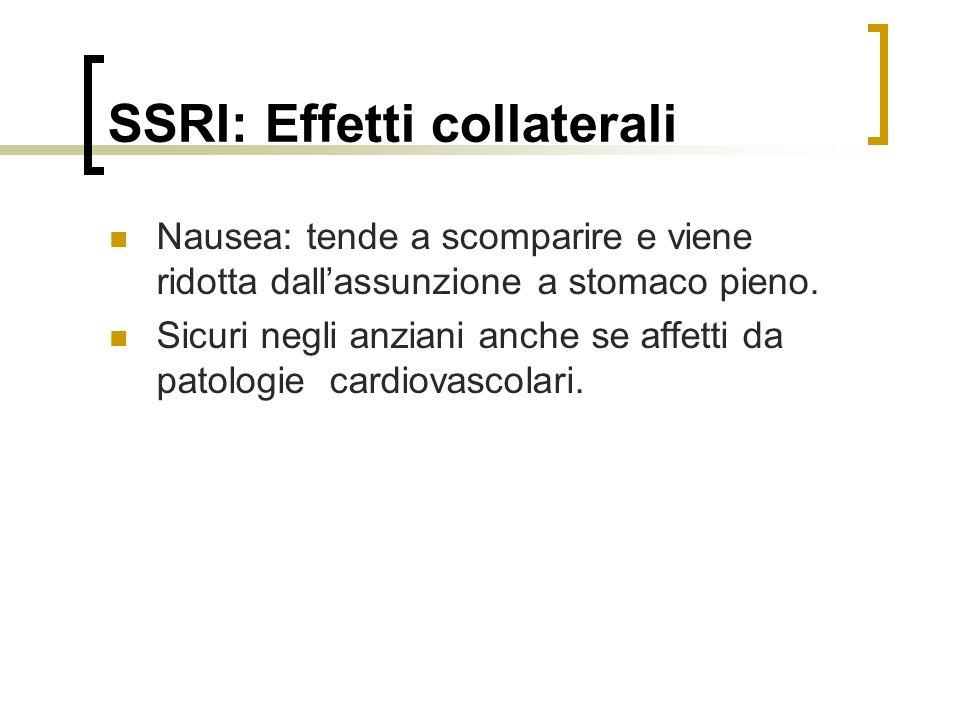SSRI: Effetti collaterali Nausea: tende a scomparire e viene ridotta dallassunzione a stomaco pieno.