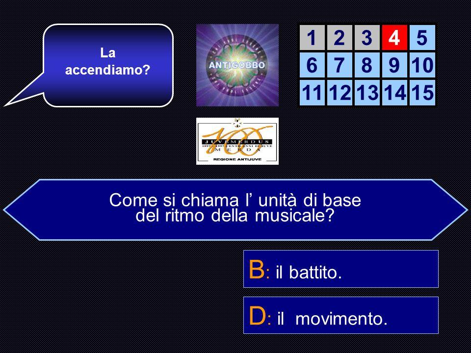 Come si chiama l unità di base del ritmo della musica? A : il gesto. B : il battito. C : il passo di marcia. D : il movimento. Avanti così! Adesso una