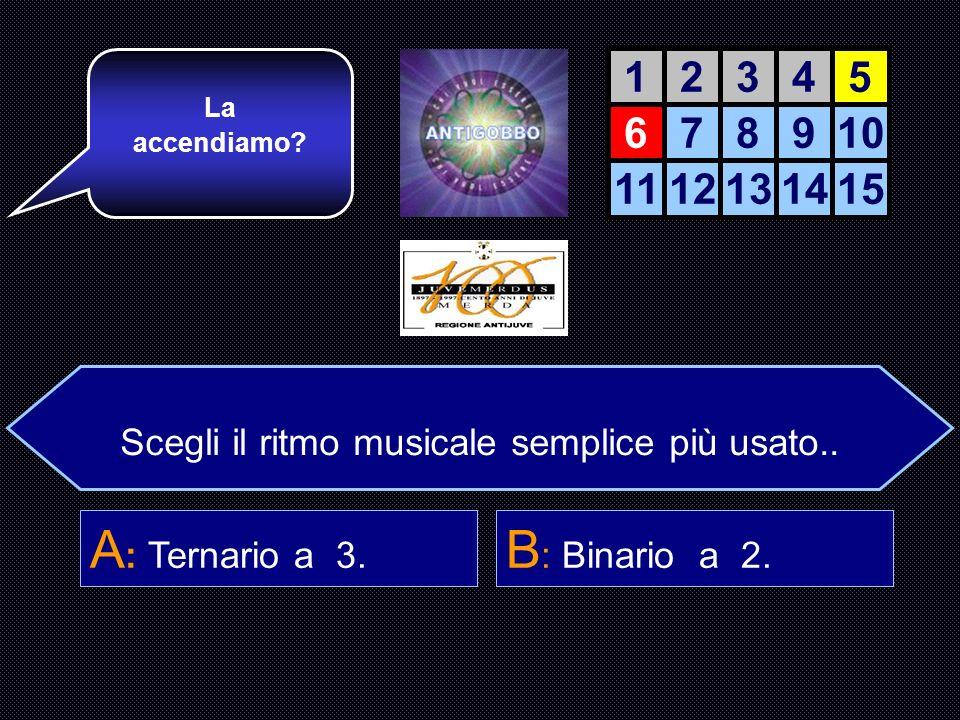 Scegli il ritmo musicale semplice più usato. A : Ritmo Ternario. B : Ritmo Binario. C : Ritmo Quaternario. D : Ritmo quinario. Mi piace questo ragazzo