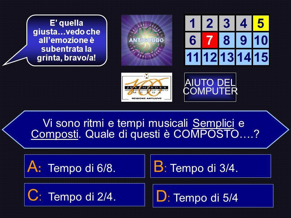 Scegli il ritmo musicale semplice più usato.. B : Binario a 2. 12345 678910 1112131415 La accendiamo? A : Ternario a 3.