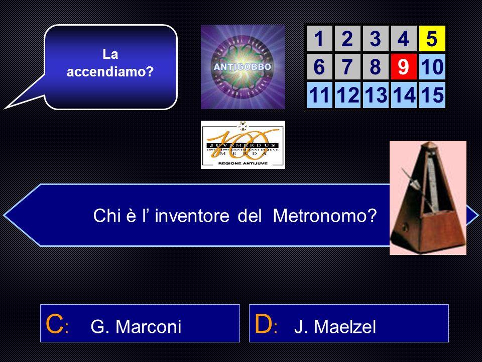 Chi fu l ideatore del Metronomo? A : A. Mabruck. B : B. Frencklin C : G. Marconi. D : J. Maelzel Bravo, questa era abbastanza facile, ma ciò nulla tog