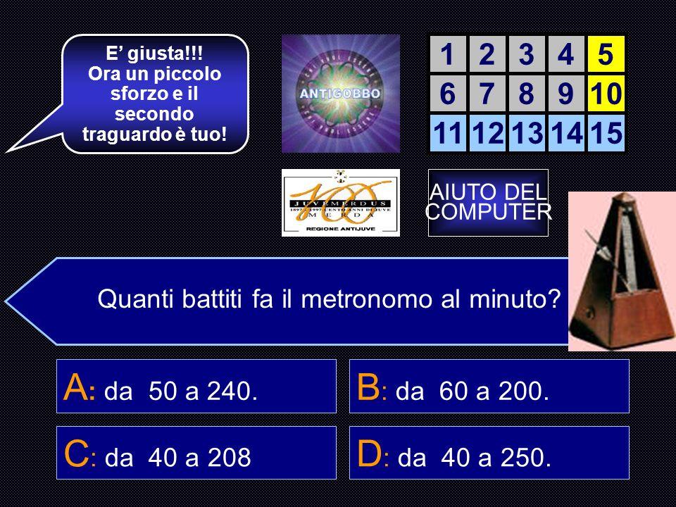 Chi è l inventore del Metronomo? D : J. Maelzel 12345 678910 1112131415 La accendiamo? C : G. Marconi