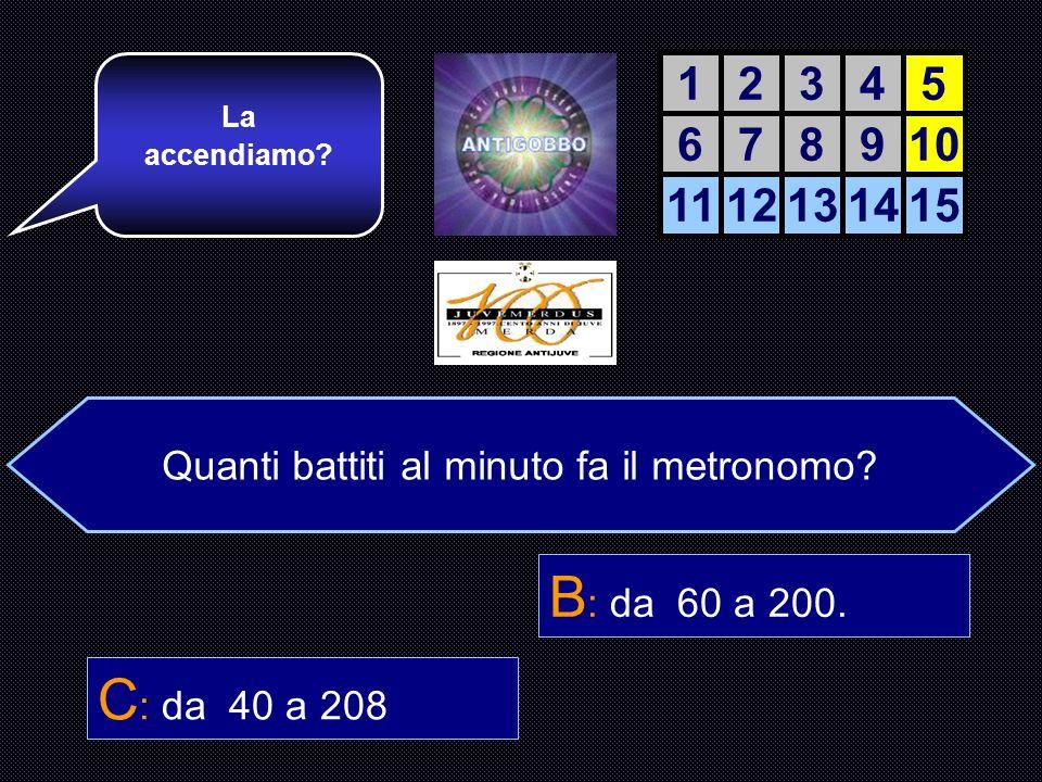 Quanti battiti fa il metronomo al minuto? A : da 50 a 240. B : da 60 a 200. C : da 40 a 208 D : da 40 a 250. E giusta!!! Ora un piccolo sforzo e il se
