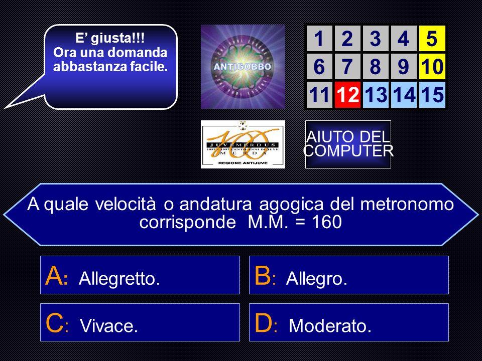 Chi fu il primo Compositore ad usare Il metronomo con M.M. = 120 D : L. van Beethoven. 12345 678910 1112131415 La accendiamo? A : Sebastian Bach.