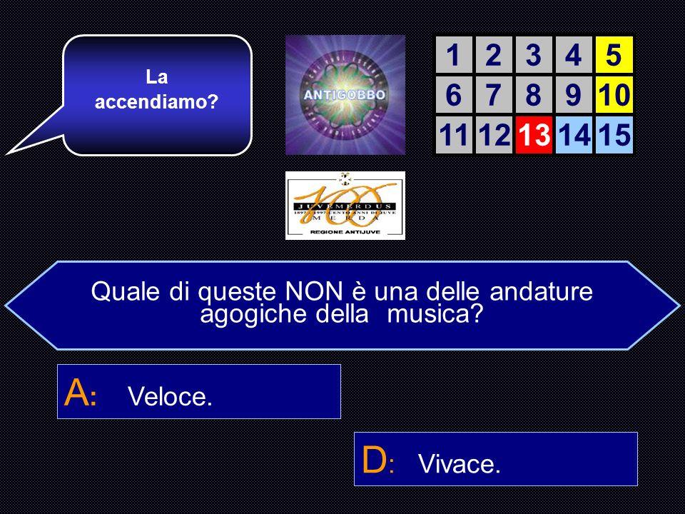Quale di queste NON è una delle andature Agogiche della musica? A : Veloce. B : Presto. C : Allegro con brio. D : Vivace. Bravo! Ancora tre risposte e