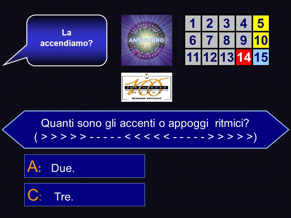 Quanti sono gli accenti o appoggi ritmici? A : sono due. B : sono quattro. C : sono tre. D : Uno solo. E quella giusta. Attenzione ora, Arrivano quell