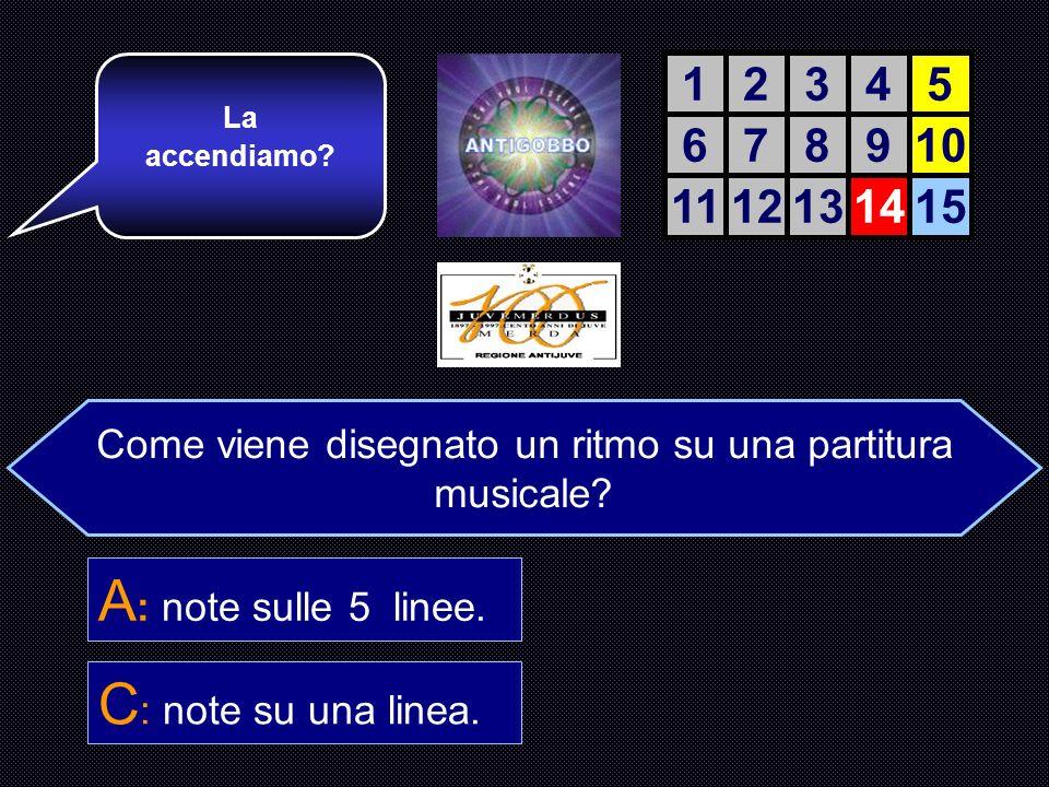 Come viene disegnato un ritmo sulla partitura? A : note sulle 5 linee. B : note fuori da linee. C : note su una linea. D : note sopra le linee. Ricord