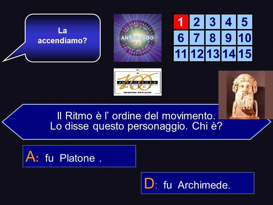 Il Ritmo è l ordine del movimento. Lo disse questo personaggio. A : Platone. B : Omero. C : Pitagora D : Archimede. Sei pronto? Bene, allora passiamo