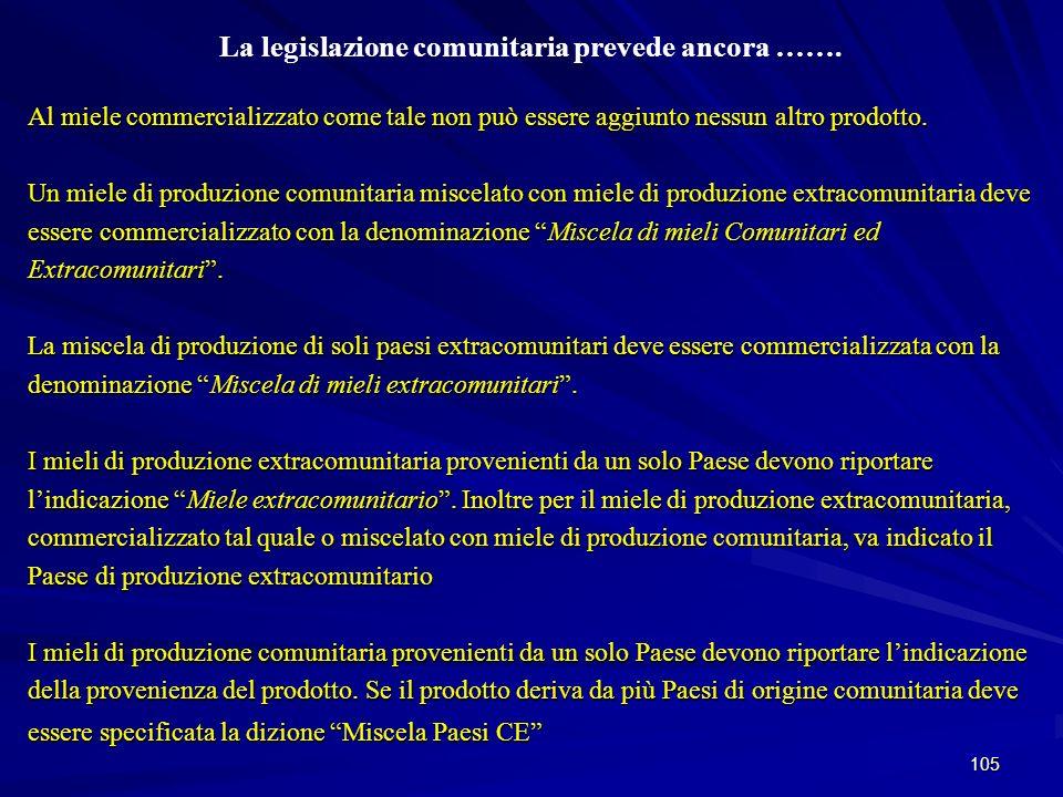 105 La legislazione comunitaria prevede ancora ……. Al miele commercializzato come tale non può essere aggiunto nessun altro prodotto. Un miele di prod
