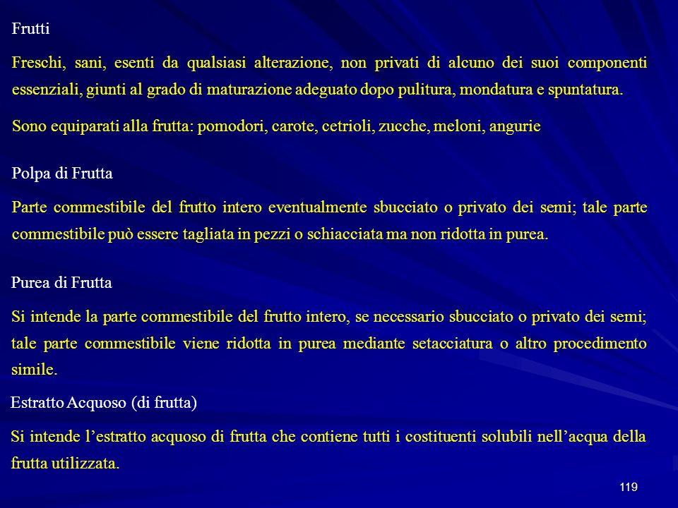 119 Frutti Freschi, sani, esenti da qualsiasi alterazione, non privati di alcuno dei suoi componenti essenziali, giunti al grado di maturazione adegua