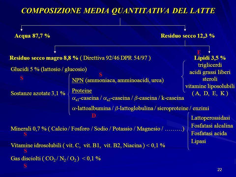 22 COMPOSIZIONE MEDIA QUANTITATIVA DEL LATTE Acqua 87,7 %Residuo secco 12,3 % Lipidi 3,5 % triglicerdi acidi grassi liberi steroli vitamine liposolubi