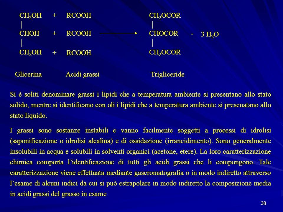38 GlicerinaAcidi grassiTrigliceride CH 2 OH CHOH CH 2 OH + + + RCOOH CH 2 OCOR CHOCOR CH 2 OCOR - 3 H 2 O Si è soliti denominare grassi i lipidi che