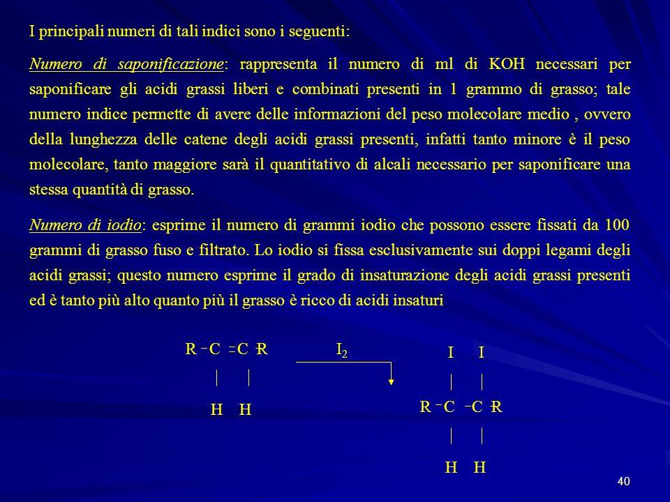 40 I principali numeri di tali indici sono i seguenti: Numero di saponificazione: rappresenta il numero di ml di KOH necessari per saponificare gli ac