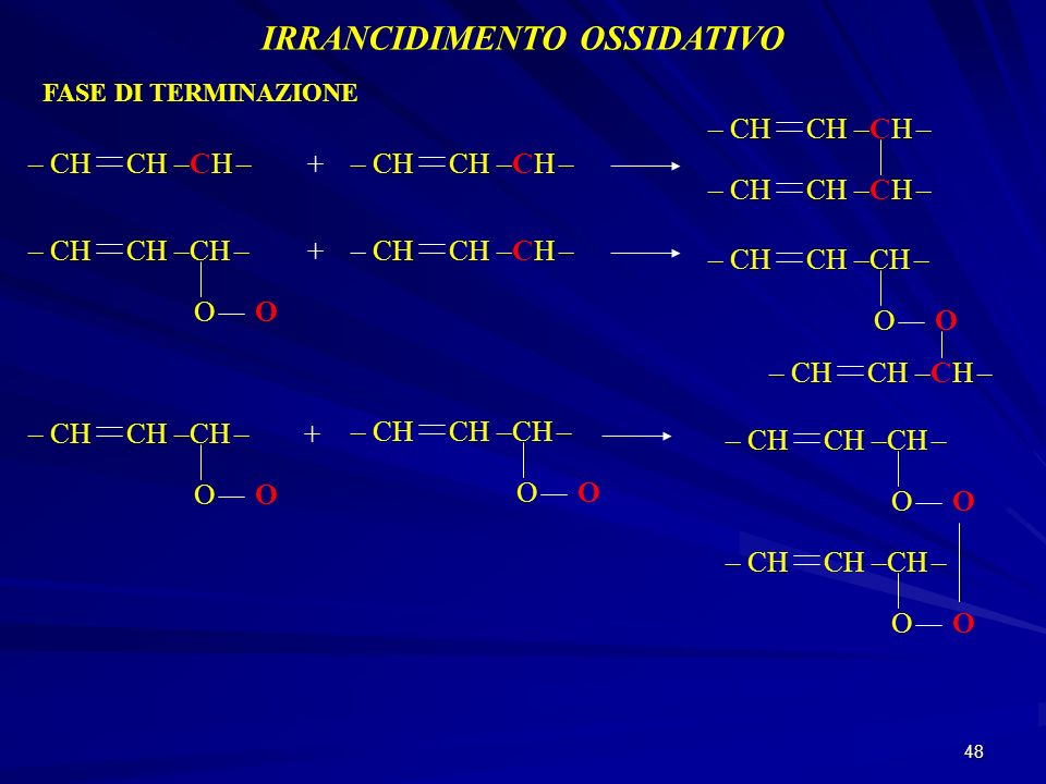 48 IRRANCIDIMENTO OSSIDATIVO FASE DI TERMINAZIONE – CH CH –CH –+ OO + OO OO + OO OO OO