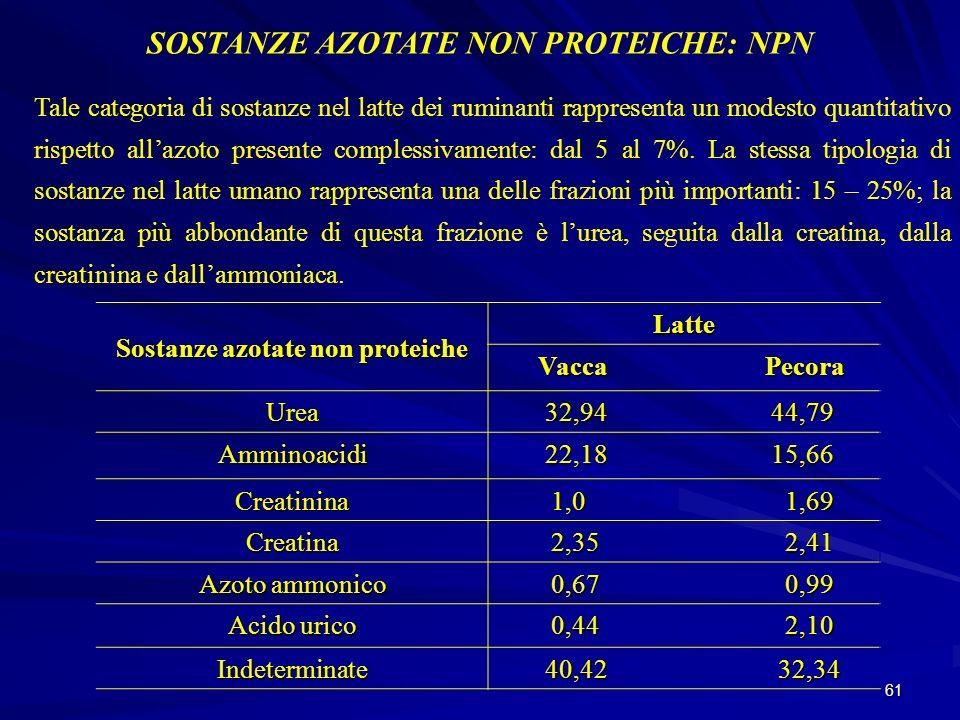 61 SOSTANZE AZOTATE NON PROTEICHE: NPN Tale categoria di sostanze nel latte dei ruminanti rappresenta un modesto quantitativo rispetto allazoto presen