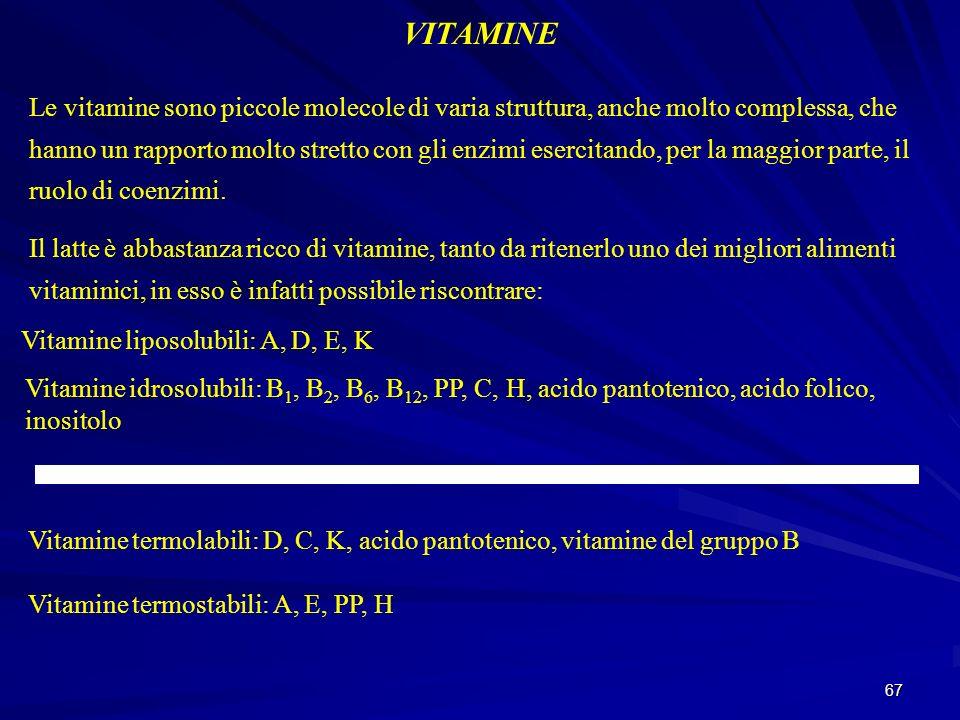 67 VITAMINE Le vitamine sono piccole molecole di varia struttura, anche molto complessa, che hanno un rapporto molto stretto con gli enzimi esercitand