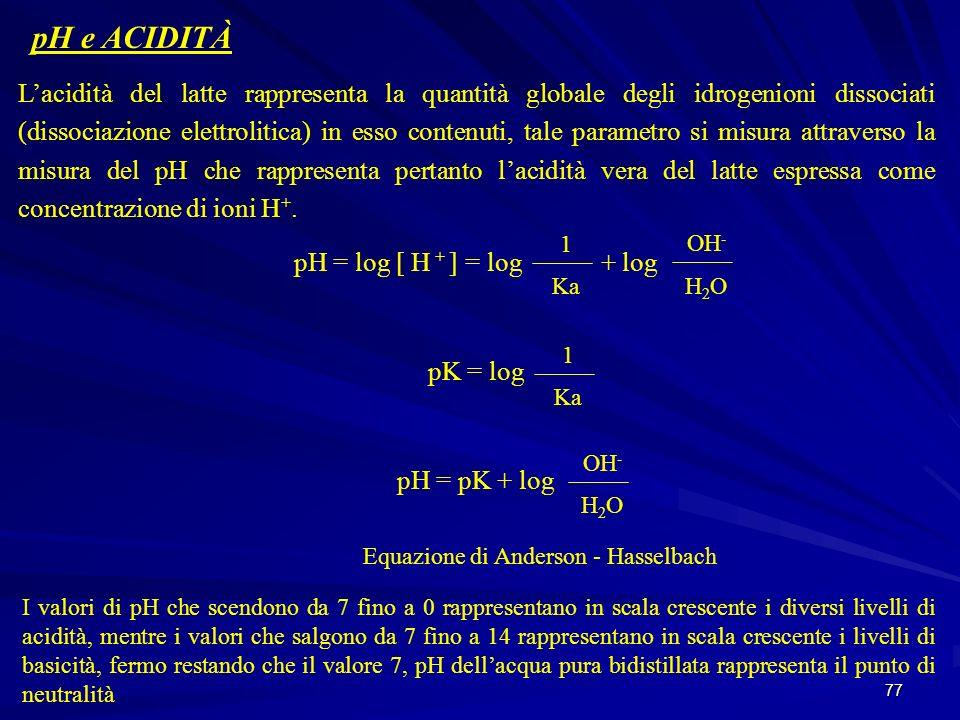 77 pH e ACIDITÀ Lacidità del latte rappresenta la quantità globale degli idrogenioni dissociati (dissociazione elettrolitica) in esso contenuti, tale