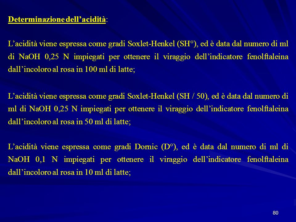80 Determinazione dellacidità: Lacidità viene espressa come gradi Soxlet-Henkel (SH°), ed è data dal numero di ml di NaOH 0,25 N impiegati per ottener