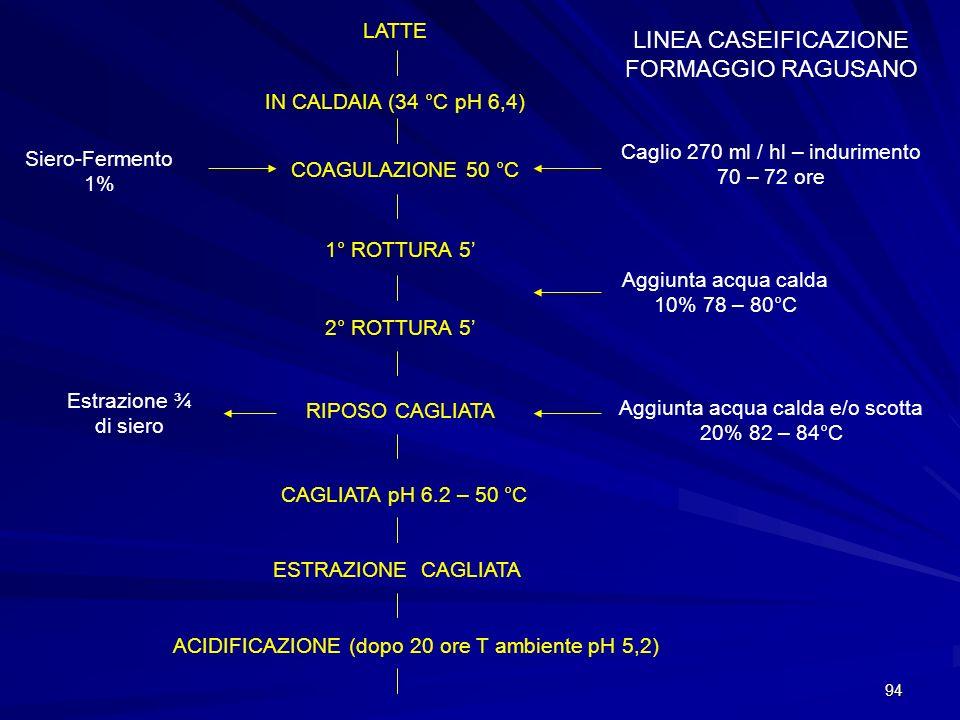 94 LINEA CASEIFICAZIONE FORMAGGIO RAGUSANO LATTE IN CALDAIA (34 °C pH 6,4) COAGULAZIONE 50 °C Caglio 270 ml / hl – indurimento 70 – 72 ore Siero-Ferme
