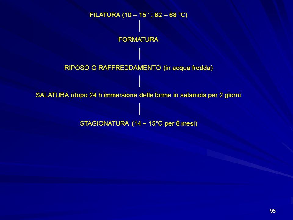 95 FILATURA (10 – 15 ; 62 – 68 °C) FORMATURA RIPOSO O RAFFREDDAMENTO (in acqua fredda) SALATURA (dopo 24 h immersione delle forme in salamoia per 2 gi