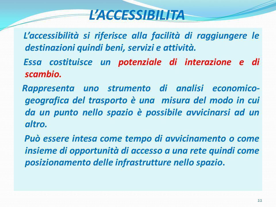 LACCESSIBILITA Laccessibilità si riferisce alla facilità di raggiungere le destinazioni quindi beni, servizi e attività.