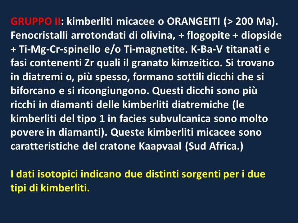 GRUPPO II: kimberliti micacee o ORANGEITI (> 200 Ma). Fenocristalli arrotondati di olivina, + flogopite + diopside + Ti-Mg-Cr-spinello e/o Ti-magnetit