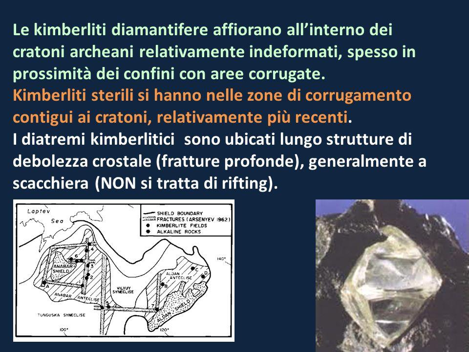 Le kimberliti diamantifere affiorano allinterno dei cratoni archeani relativamente indeformati, spesso in prossimità dei confini con aree corrugate. K
