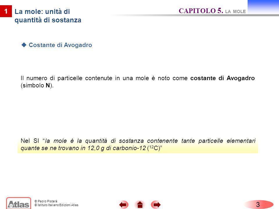 © Paolo Pistarà © Istituto Italiano Edizioni Atlas Il numero di particelle contenute in una mole è noto come costante di Avogadro (simbolo N). 3 Nel S
