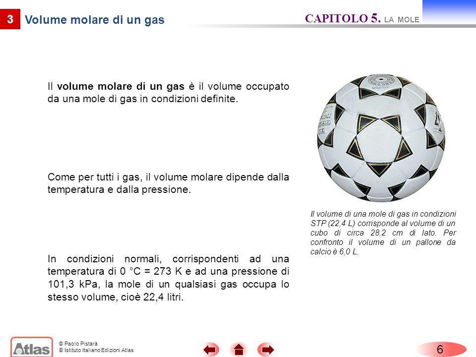 © Paolo Pistarà © Istituto Italiano Edizioni Atlas 6 3 Volume molare di un gas Il volume molare di un gas è il volume occupato da una mole di gas in c