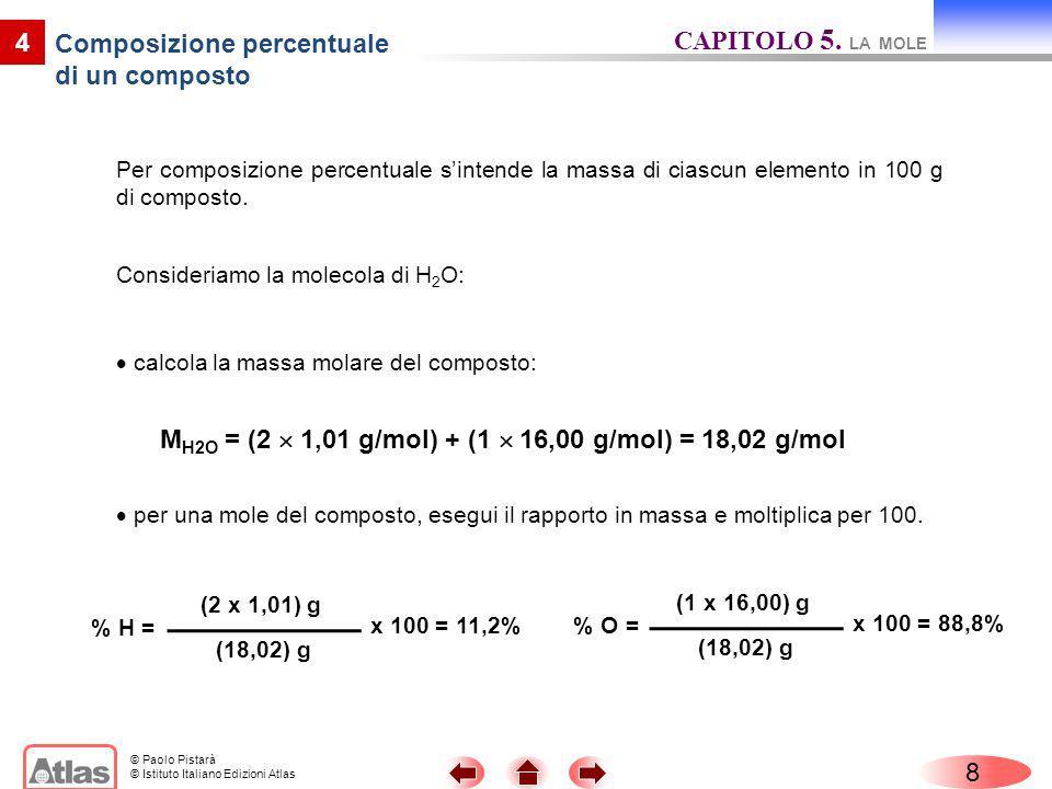 © Paolo Pistarà © Istituto Italiano Edizioni Atlas Per composizione percentuale sintende la massa di ciascun elemento in 100 g di composto. 8 4 per un