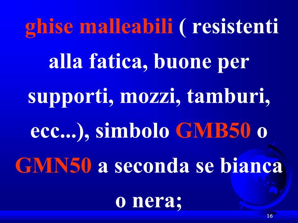 16 ghise malleabili ( resistenti alla fatica, buone per supporti, mozzi, tamburi, ecc...), simbolo GMB50 o GMN50 a seconda se bianca o nera;