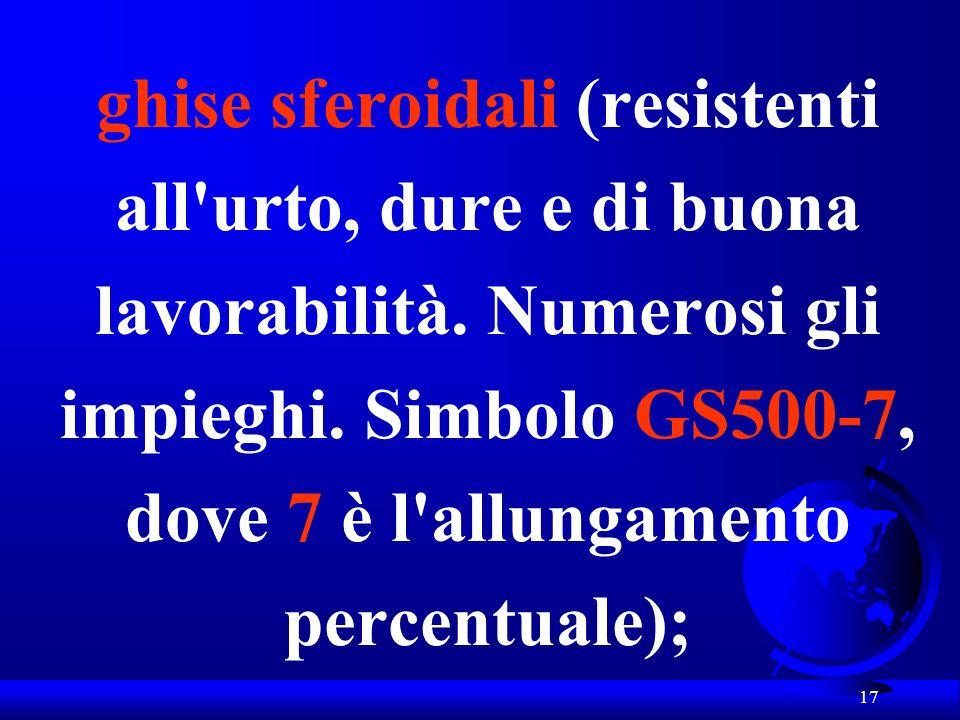 17 ghise sferoidali (resistenti all'urto, dure e di buona lavorabilità. Numerosi gli impieghi. Simbolo GS500-7, dove 7 è l'allungamento percentuale);